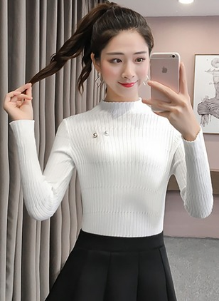 High Neckline Solid Tight Beading Sweaters