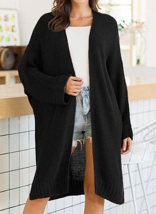Long Sleeve Collarless Sweaters Coats (100547586)