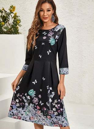 Casual Floral Shirt Round Neckline A-line Dress (122029281)