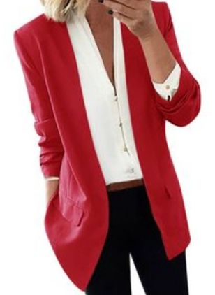 Long Sleeve Lapel Pockets Blazers Coats (1438496)