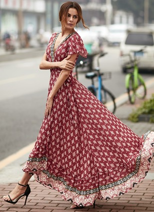 Floral Short Sleeve Maxi X-line Dress