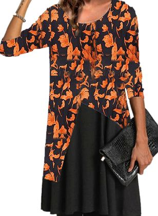 Casual Floral Tunic Round Neckline A-line Dress (122030809)