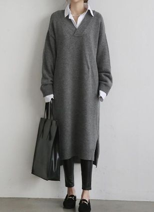 Basic Solid Sweater V-Neckline Shift Dress (146678804)