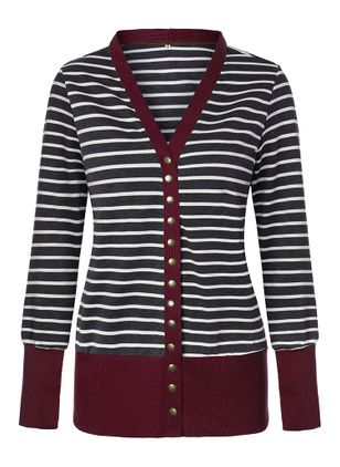 V-Neckline Stripe Casual Tight Regular Buttons Sweaters (146655634)
