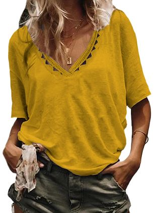 Solid V-Neckline Half Sleeve Casual T-shirts (4864524)