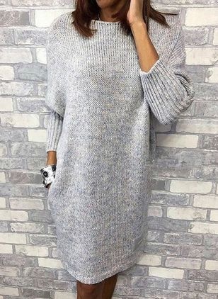 Casual Solid Sweater Round Neckline Shift Dress (1418496)