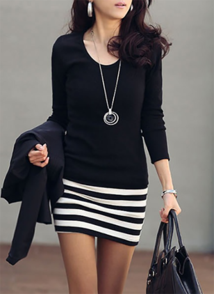 Color Block Pencil Long Sleeve Sheath Dress