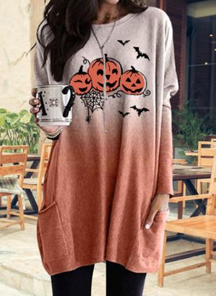 Character Halloween Round Neckline Long Sleeve Blouses (109555419)