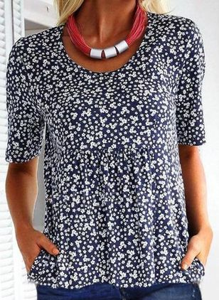 Floral Casual Round Neckline Short Sleeve Blouses (4074392)
