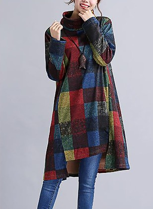 Cotton Check Long Sleeve Above Knee Casual Dresses