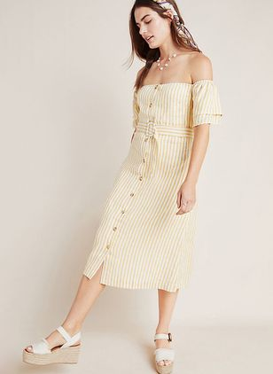 Stripe Buttons Short Sleeve Midi X-line Dress