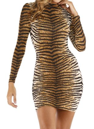 Sexy Animal Pencil Round Neckline Bodycon Dress (146718433)