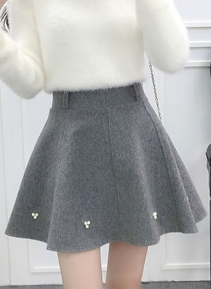 Cotton Solid Above Knee Casual Beading Skirts