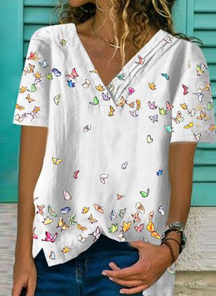 Animal Casual V-Neckline Short Sleeve Blouses (146929569)