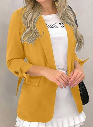 Long Sleeve Lapel Pockets Coats (107251294)