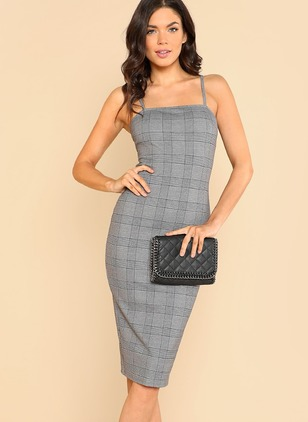 Plaid Zipper Pencil Camisole Neckline Bodycon Dress