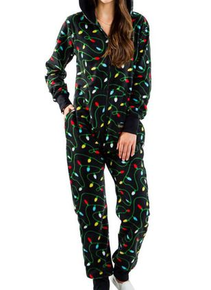 Hooded Color Block Pockets Zipper Pajamas (146722268)