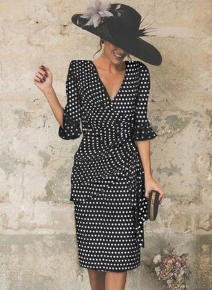 Basic Polka Dot Half Sleeve Midi X-line Dress (4864713)