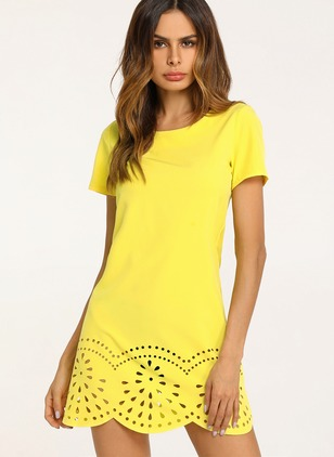 Cotton Solid Short Sleeve Shift Dress