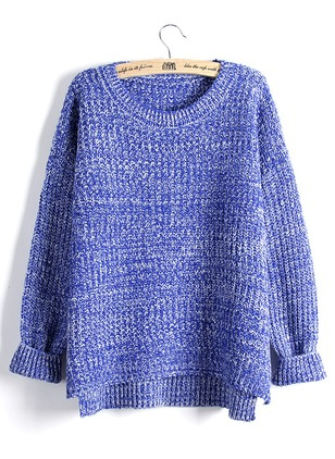 Polyester Round Neckline Loose Sweaters