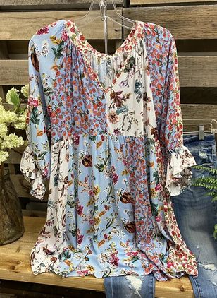 Floral Casual V-Neckline 3/4 Sleeves Blouses (5243008)