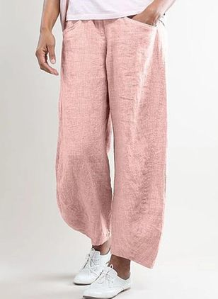 Casual Loose Pockets Mid Waist Polyester Pants (4037283)