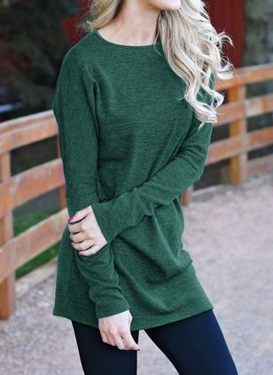 Solid Casual Round Neckline Long Sleeve Blouses (146717967)