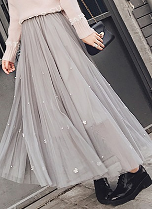 Polyester Solid Maxi Elegant Appliques Skirts