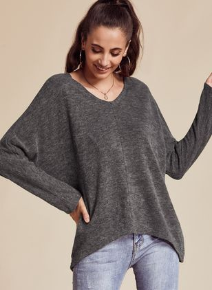 V-Neckline Solid Casual Loose Regular Sweaters (1348121)