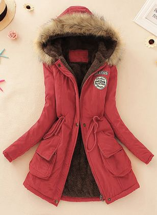 Long Sleeve Hooded Pockets Parkas