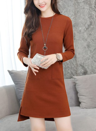 Solid Pockets Sweater Long Sleeve A-line Dress