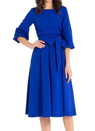 Casual Solid Wrap Round Neckline X-line Dress (146718470)