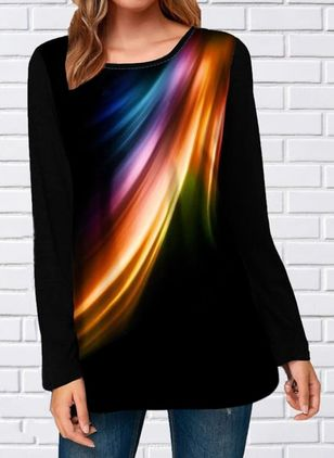 Color Block Round Neck Long Sleeve Casual T-shirts (1509494)