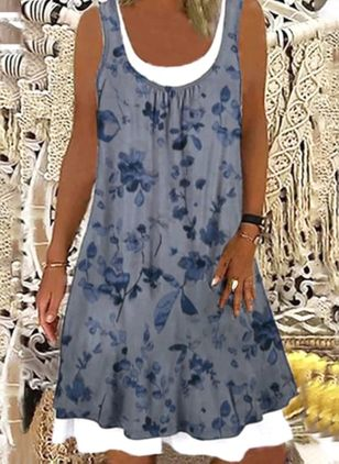 Casual Floral Tunic Round Neckline A-line Dress (147182539)