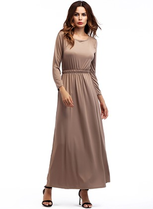 Cotton Polyester Solid Long Sleeve Maxi Dresses