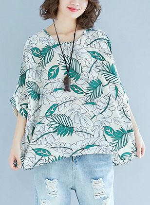 Cotton Floral Round Neck 3/4 Sleeves Casual T-shirts