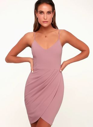 Solid Sleeveless Above Knee X-line Dress