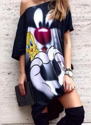 Animal Oblique Neckline Short Sleeve High Low Shift Dress