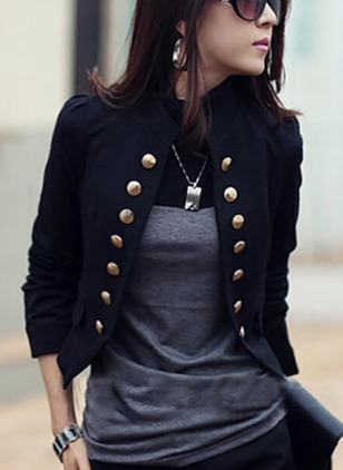 Cotton & Cotton Blend Long Sleeve Stand Collar Jackets