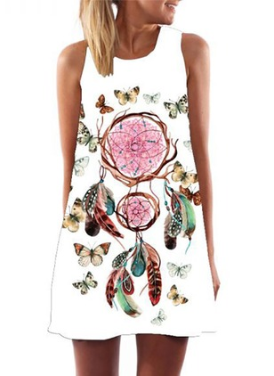 Cotton Floral Sleeveless Shift Dress