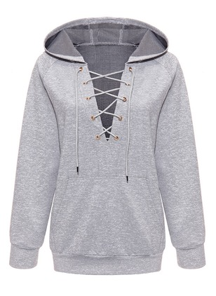 Solid Casual Cotton V-Neckline Others Sweatshirts