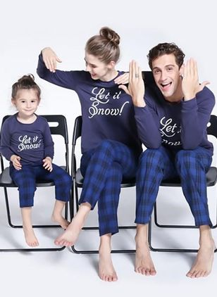 Family Look Alphabet Casual Long Sleeve Family Outfits (146741960)