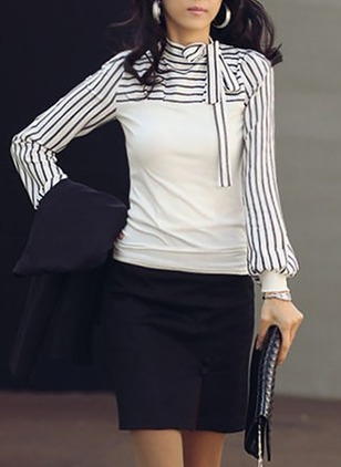 Stripe Casual Cotton High Neckline Long Sleeve Blouses