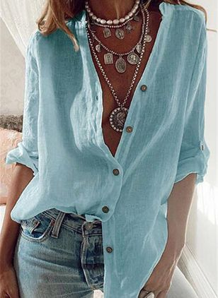 Solid Casual V-Neckline Long Sleeve Blouses (4864481)