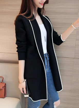 Long Sleeve Lapel Pockets Trench Coats