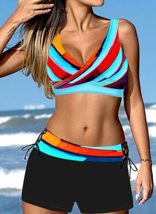Polyester Color Block Knotted Bikinis Swimwear (146946108)