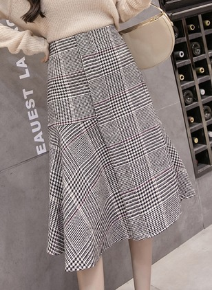 Cotton Stripe Mid-Calf Casual Skirts