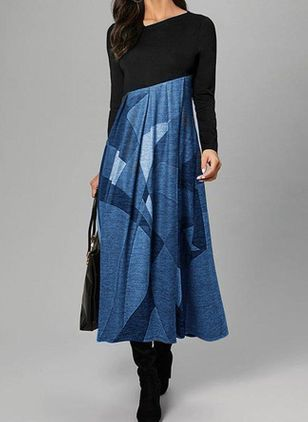 Color Block Lange mouw Maxi Jurken (112602067)