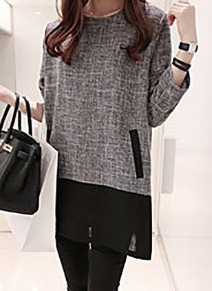 Cotton Color Block Long Sleeve Above Knee Casual Dresses
