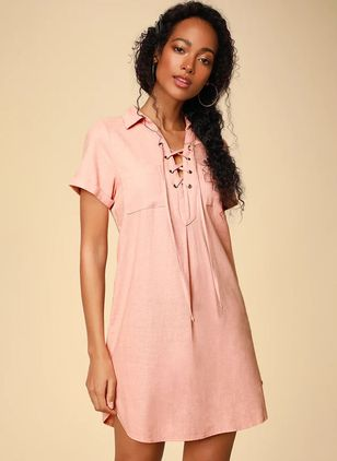 Solid Short Sleeve Above Knee A-line Dress